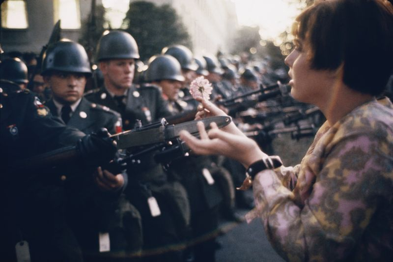 the iconic  Pulitzer prize winning photograph of the 'flower-power' anti-Vietnam war protest movement came to mind when thinking about how the law against war-time 'ecocide' arose also at this time, photo by Marc Riboud taken at the Pentagon, Washington D. C, 21 October 1967