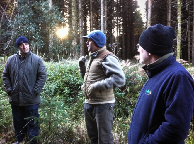 Paddy Purser (centre)- an independent forest consultant and Padriag O'Tuama (Coillte Teo) were the thinning trainers for the day