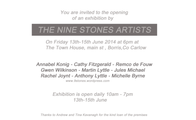 9 Stones Artists Opening (the night before the Borris Festival of Writing and Ideas begins)