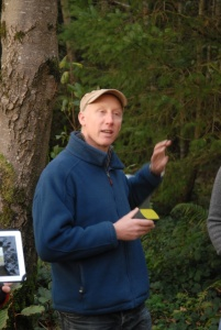 Martin talking about the history of the site and how his father had the conifers planted in the mid-1980s. Mass planting of conifers were introduced in the 1950s to alleviate rural poverty - we now need to change to more permanent, mixed species, mixed age forestry approaches. Hollywood is managed following the new-to-Ireland 'Close to Nature' continuous cover forestry approach practised for many decades in Eastern Europe (see more info at www.prosilvaireland.org)