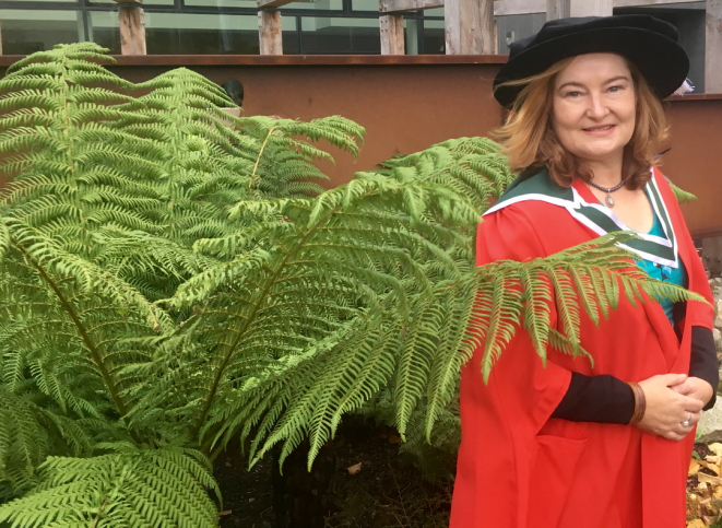 Celebrating with a NZ tree fern at UCD, 19 November 2018.